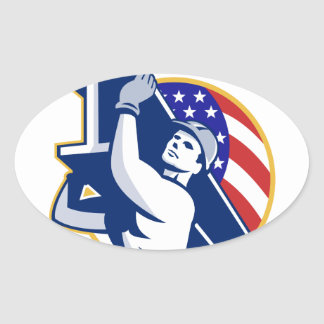 Construction Steel Worker I-Beam American Flag Oval Sticker