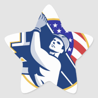 Construction Steel Worker I-Beam American Flag Star Sticker