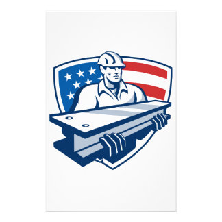 Construction Steel Worker I-Beam American Flag Stationery