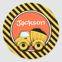 Construction Stickers, Dump Truck Birthday Classic Round Sticker