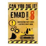 "Construction theme brithday party invitation 5"" x 7"" invitation card"