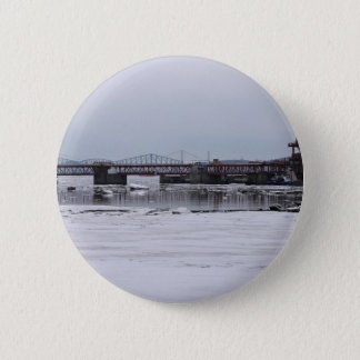 Construction Themed, Industrial River On Bridge Co Button