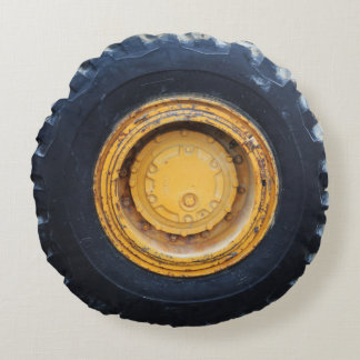 Construction Tire Round Pillow