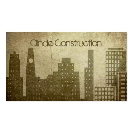 Cool City Buildings Vintage Grunge Construction Business Cards Template