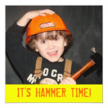 "Construction Tool Theme Birthday Invitation 5.25"" Square Invitation Card"