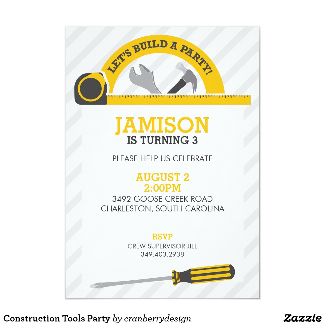 Construction Tools Party Card