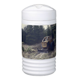 Construction tractor beverage cooler