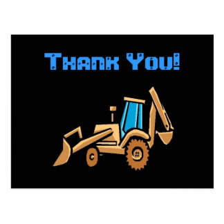 construction tractor, birthday Thank You! Postcard