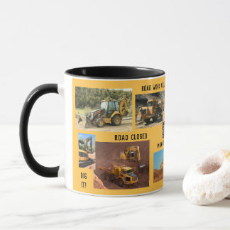 Construction Tractor Collage Mug