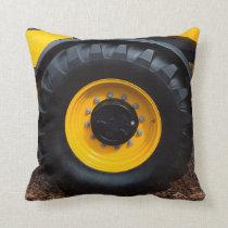 Construction Tractor Wheel Throw Pillow