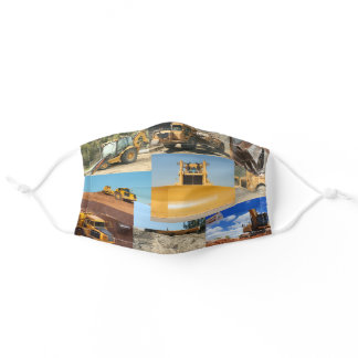 Construction Tractors Collage Adult Cloth Face Mask