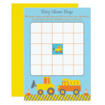 Construction Truck Baby Shower Bingo Card