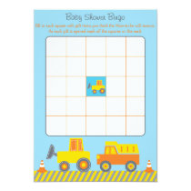 Construction Truck Baby Shower Bingo Cards