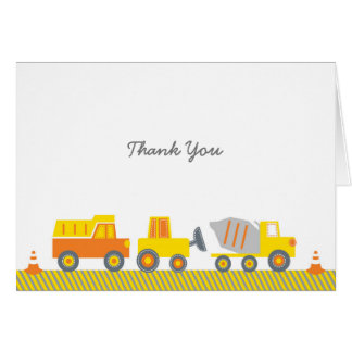 Construction Truck Baby Shower Thank You Card