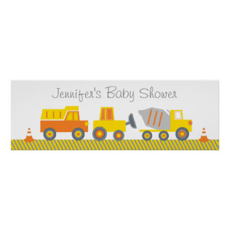 Construction Truck Baby Shower Welcome Poster