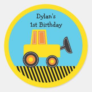 Construction Truck Birthday Stickers