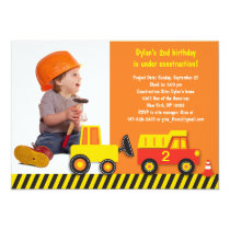 Construction Truck Boys Photo Birthday Invitation