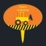 """Construction Truck Cake Topper<br><div class=""""desc"""">These adorable cake toppers are the perfect way to personalize a cake or cupcake. Customize with any text. Coordinating items available in our store.</div>"""