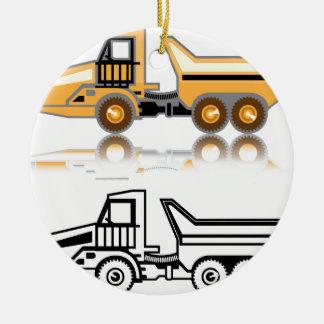 Construction truck ceramic ornament