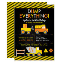 Construction Truck Chalkboard Birthday Card