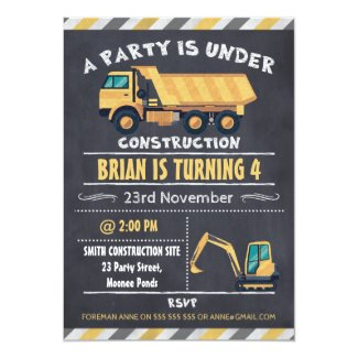 Construction Truck Chalkboard Birthday Invitation