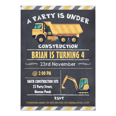 Construction truck chalkboard birthday invitation zazzle filmwisefo Choice Image