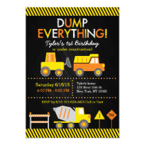 Construction Truck Chalkboard Birthday Invitations