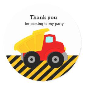 Construction Truck Classic Round Sticker