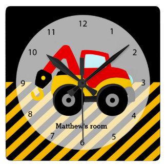 Construction Truck Square Wall Clock