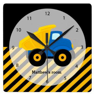 Construction Truck Square Wall Clocks