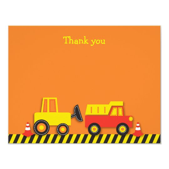 Construction Truck Flat Thank You Note Cards