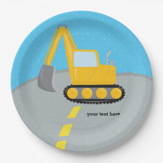 Construction truck paper plate