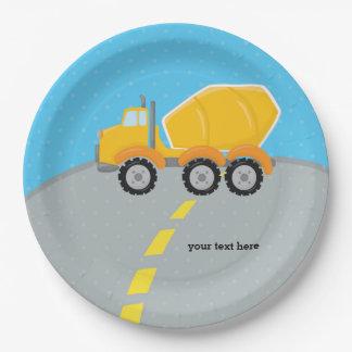 Construction truck paper plate