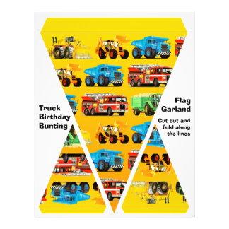 """Construction Truck Party Decorations - Bunting 8.5"""" X 11"""" Flyer"""