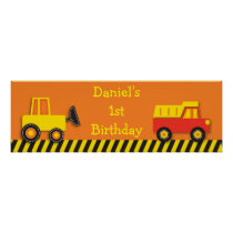Construction Truck Personalized Banner Sign Poster