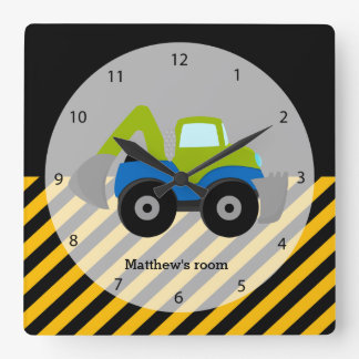 Construction Truck Square Wall Clock
