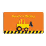 Construction Truck Water Bottle Stickers Labels