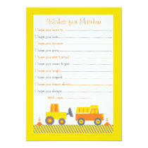 Construction Truck Wishes for Baby Cards
