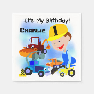 Construction Trucks 1st Birthday Paper Napkins