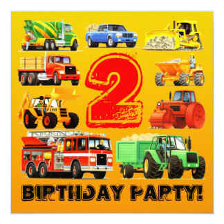 Construction Trucks 2nd Birthday Party 5.25x5.25 Square Paper Invitation Card