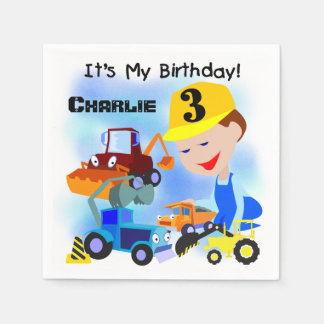 Construction Trucks 3rd Birthday Paper Napkins
