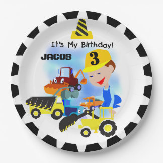 Construction Trucks 3rd Birthday Paper Plates 9 Inch Paper Plate