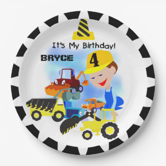 Construction Trucks 4th Birthday Paper Plates 9 Inch Paper Plate
