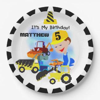 Construction Trucks 5th Birthday Paper Plates