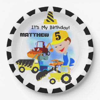 Construction Trucks 5th Birthday Paper Plates 9 Inch Paper Plate