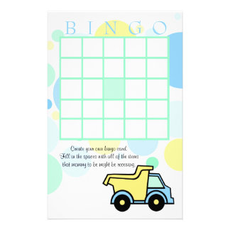Construction Trucks Baby Shower Bingo Stationery