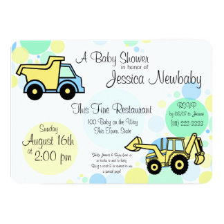 "Construction Trucks Baby Shower 5"" X 7"" Invitation Card"