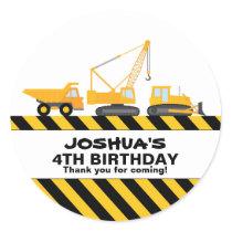 Construction Trucks Birthday Party Favor Sticker