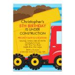 Construction trucks Birthday Party for boys 5x7 Paper Invitation Card