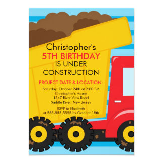 Construction trucks Birthday Party for boys Personalized Announcement